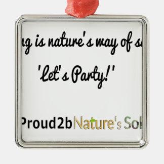 Nature's Soldiers Slogan 1 Silver-Colored Square Decoration