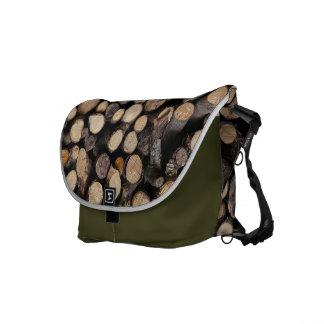 Natures wooden logs pattern messenger bags