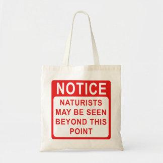 Naturist camp/beach notice tote bag