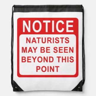 Naturist Camp/Beach Sign Drawstring Bag
