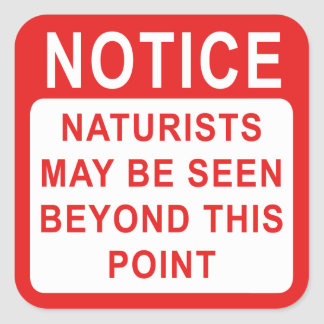 Naturist Camp/Beach Sign Square Sticker