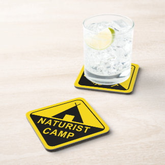 Naturist Camping Sign Coaster