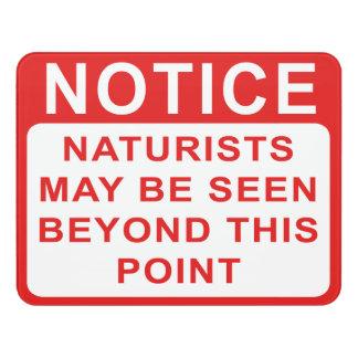Naturist Door Sign