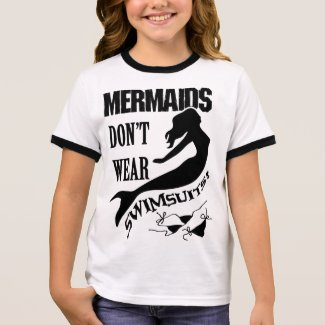 Naturist/Nudist Girl's Mermaid t-shirt