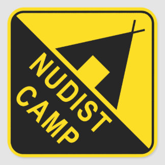 naturist / nudist square sticker