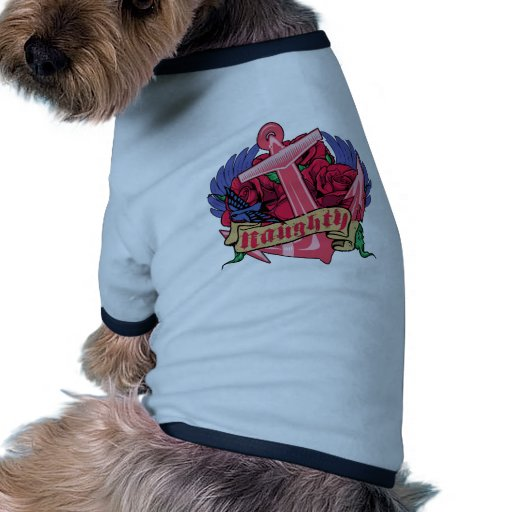 Naughty Anchor Roses and Wings Dog Tee