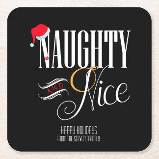 Naughty and Nice Holiday Party Square Paper Coaster
