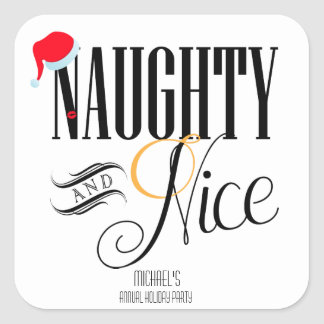 Naughty and Nice Holiday Party Square Sticker