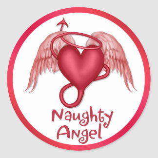 Naughty Angel Classic Round Sticker