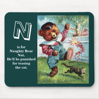Naughty Bear Nat - Letter N - Vintage Teddy Bear Mouse Pad