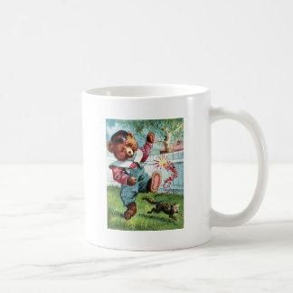 Naughty Bear Nat - Letter N - Vintage Teddy Bear Basic White Mug