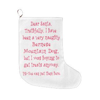 Naughty Bernese Mountain Dog Large Christmas Stocking
