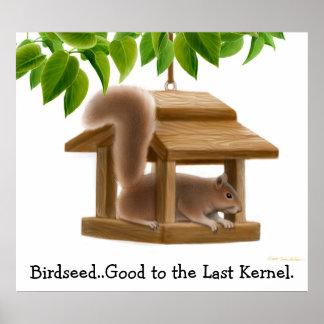 Naughty Birdfeeder Squirrel Poster