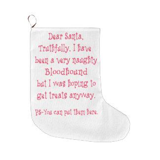Naughty Bloodhound Large Christmas Stocking