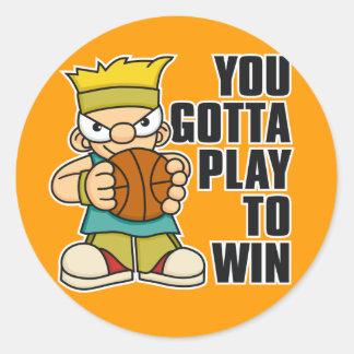 Naughty Boy Basket Ball Round Sticker