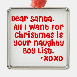Naughty boy list christmas ornament