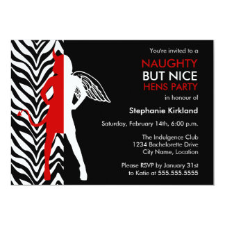 Naughty But Nice Hens Party / Bachelorette Party 13 Cm X 18 Cm Invitation Card