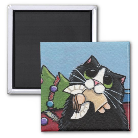 Naughty Cat at Christmas Magnet