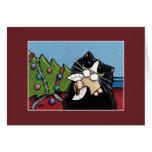 Naughty Cat & Christmas Angel | Christmas Card