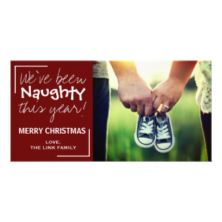 Naughty Christmas Baby Announcement Personalized Photo Card