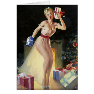 Naughty Christmas Pin-Up Greeting Card