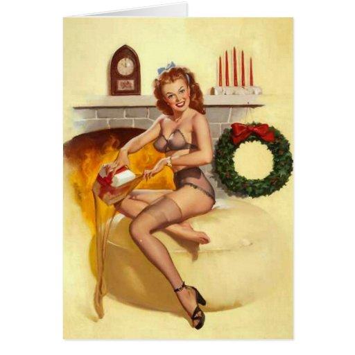 Naughty Christmas Stocker Pin-Up Greeting Card