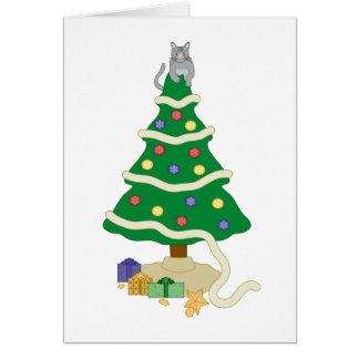 Naughty Christmas Tree Kitty Cat Greeting Card