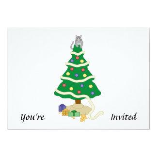 Naughty Christmas Tree Kitty Cat 5x7 Paper Invitation Card