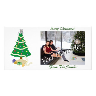 Naughty Christmas Tree Kitty Cat Personalised Photo Card