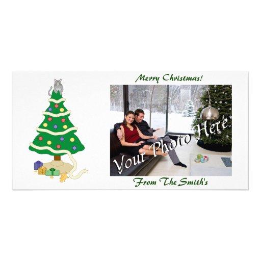 Naughty Christmas Tree Kitty Cat Custom Photo Card