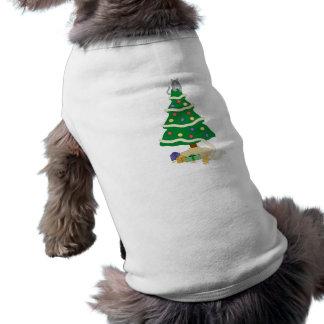 Naughty Christmas Tree Kitty Cat Sleeveless Dog Shirt