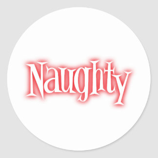 naughty classic round sticker