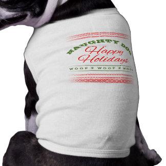 Naughty Dog - Happy Holidays Red Green Doggie T Sleeveless Dog Shirt