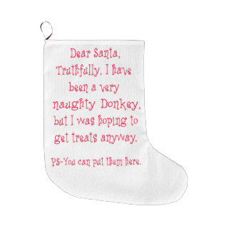 Naughty Donkey Large Christmas Stocking