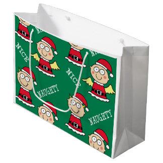 Naughty Elf Nice Elf Pattern Large Gift Bag