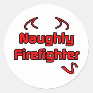 Naughty Firefighter Round Sticker