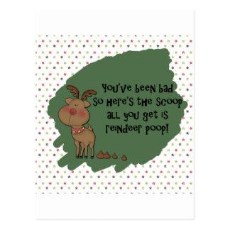 Naughty Funny Christmas Reindeer Poop Card Postcard