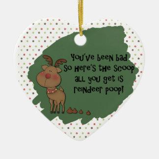 Naughty Funny Christmas Reindeer Poop Gift Saying Christmas Ornament