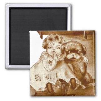 Naughty Girl and Dog Get Into Jam Fridge Magnet