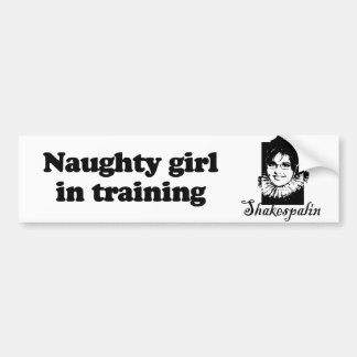 Naughty girl in training bumper stickers