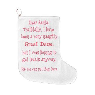 Naughty Great Dane Large Christmas Stocking