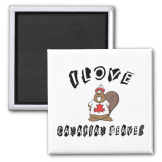 Naughty I Love Canadian Beaver Square Magnet