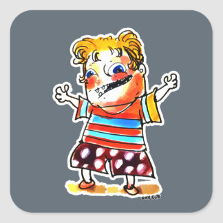naughty kid with striped tshirt cartoon square sticker