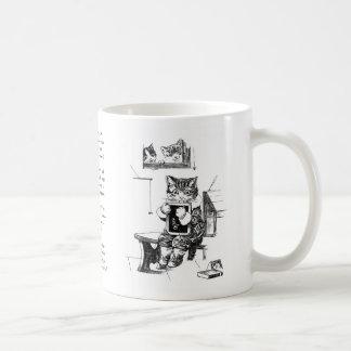 Naughty Kitten Kept In to Do Sums Basic White Mug