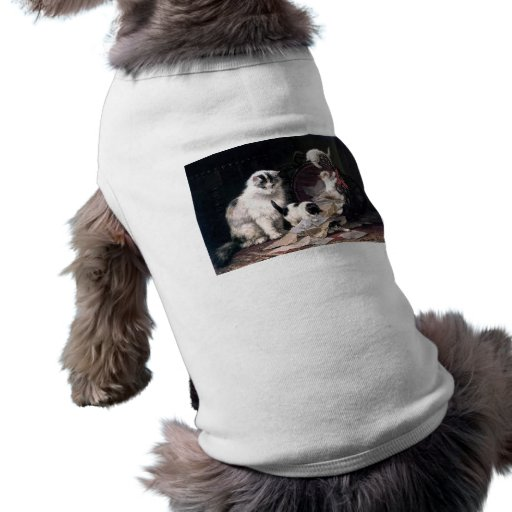 Naughty kittens cats playing with basket adorable dog tee shirt