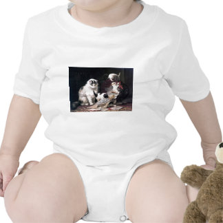 Naughty kittens cats playing with basket adorable tee shirt