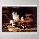 Naughty kittens playing guitar print