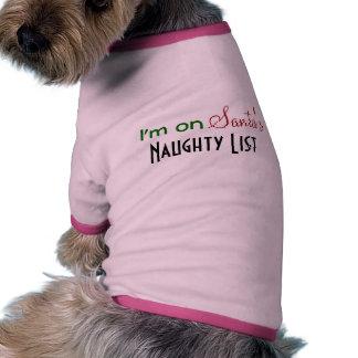 Naughty List Pink Christmas Pet Clothing