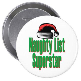 Naughty List Superstar 10 Cm Round Badge