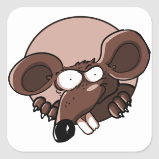 naughty mouse looking to us funny cartoon square sticker